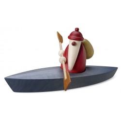 Weihnachtsmann mit Paddelboot