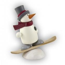 Schneemann Fritz auf Snowboard