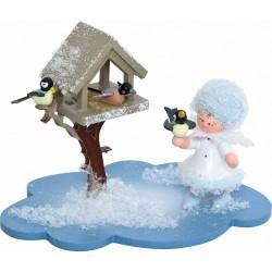 Schneeflöckchen mit Futterhaus