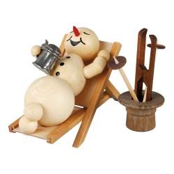 Schneemann im Liegestuhl